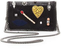 Stella McCartney Falabella Embroidered Crossbody Bag, Black