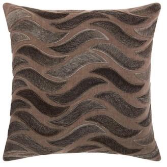 Nourison Natural Leather Hide Animal Stripes Dark Grey Throw Pillow