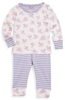 Hatley Baby Girl's Two-Piece Winged Unicorns Cotton Pajama Set
