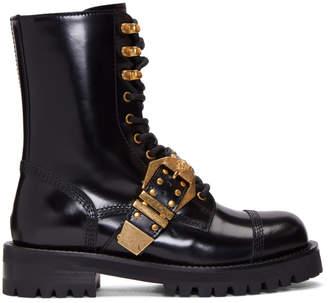 Versace Black Tribute Combat Boots