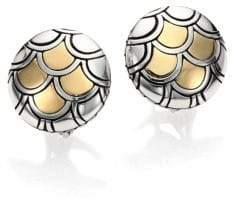 John Hardy Naga 18K Yellow Gold& Sterling Silver Button Earrings