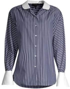 Marc Jacobs Women's Stripe Button-Down Cotton Top - Navy White - Size 4