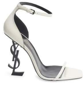 Saint Laurent Women's Opyum Leather High Heel Sandals - Latte - Size 36 (6)