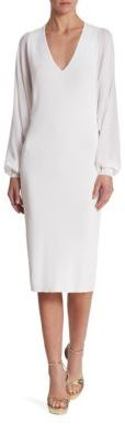 Ralph Lauren Collection Long Sleeve V-Neck Dress $1,750 thestylecure.com