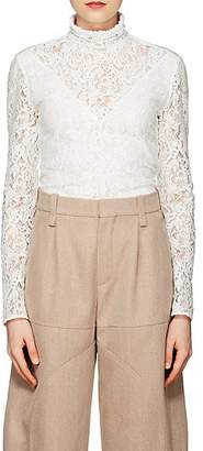 Chloé Women's Cotton-Blend Lace High-Neck Top - White