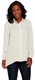Susan Graver Feather Weave Long Sleeve ButtonFront Shirt