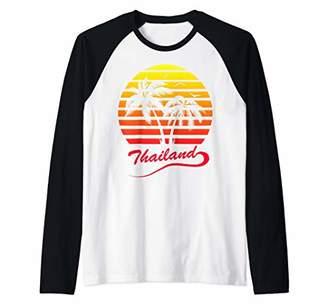 Thailand 80s Summer Beach Palm Tree Sunset Raglan Baseball Tee