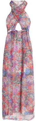 Matthew Williamson Cutout Printed Silk-Chiffon Halterneck Gown