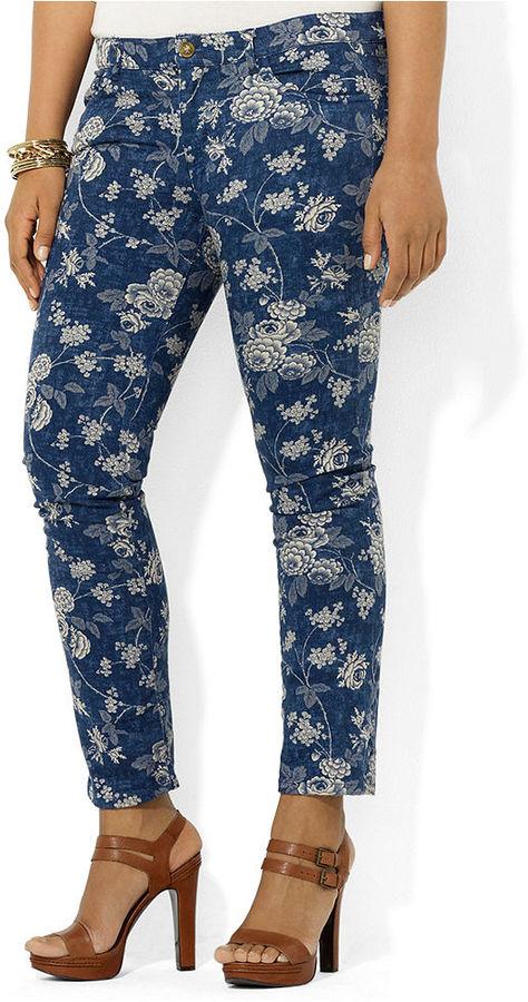 Lauren Ralph Lauren Plus Size Jeans, Modern Floral-Print Straight-Leg Ankle