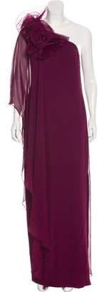 Marchesa One-Shoulder Silk Dress