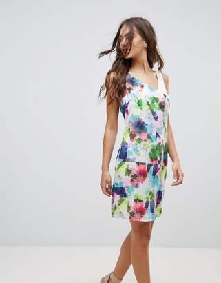 Lavand Floral Contrast Shoulder Dress