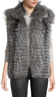 Gorski Layered Silver Fox Fur Jacket w/ Detachable Sleeves
