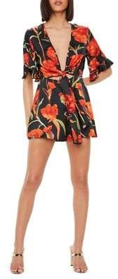 Missguided Tie-Front Floral Romper