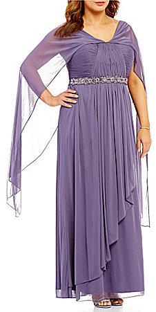 Alex EveningsAlex Evenings Plus Bead-Detail Capelet Gown
