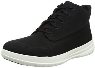 FitFlop Men's Sporty Pop High Canvas Trainers, (Black), 45 EU