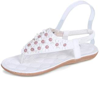 713346758 Bohemia Baynne Women Beach Sandals Slingback Ankle Strap Slingback Flower  Beaded Flip-Flop Sandals Shoes