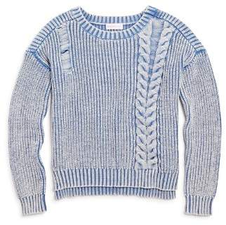 Design History Girls' Distressed Ribbed Sweater - Big Kid