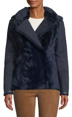 Agnona Snap-Front Shearling Short Pea Coat