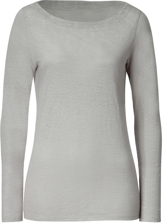 Hemisphere Grey Crew Neck Linen Top