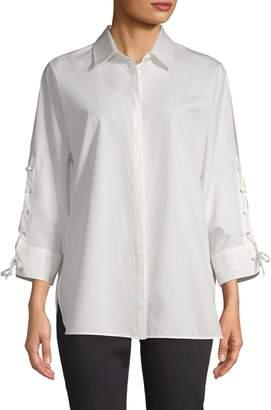 Max Mara Women's Cotton Lace-Up Blouse