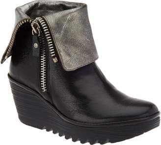 Fly London Leather Foldover Boots with Side Zip - Yex