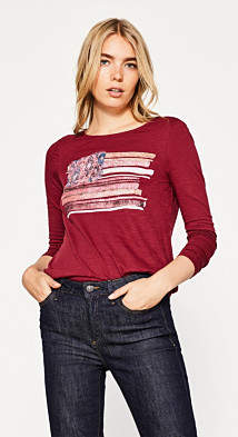 Esprit Long sleeve printed top in 100% cotton