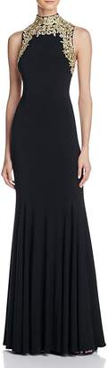 AQUA Embroidered Mock Neck Gown - 100% Exclusive $318 thestylecure.com