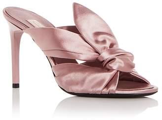 Oscar de la Renta Women's Paige Satin Knot High Heel Slide Sandals
