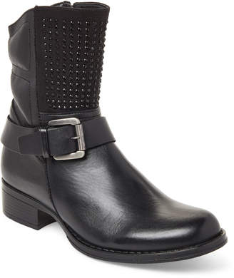 Moto Lyard (Toddler/Kids Girls) Black Holly Embellished Leather Boots