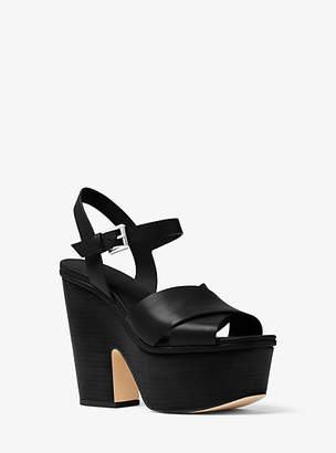 Michael Kors Divia Leather Platform Sandal