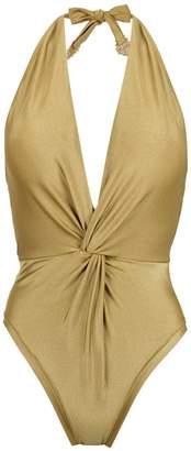 Martha Medeiros halterneck twisted detail swimsuit
