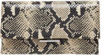 Loeffler Randall Tab Snake-Print Leather Clutch Bag