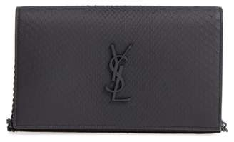 Saint Laurent Monogram Genuine Python Wallet on a Chain