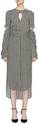 Hellessy 'Sloane' cutout drape high-low houndstooth dress