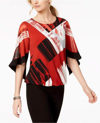 Alfani Petite Printed Flutter-Sleeve Bubble Top
