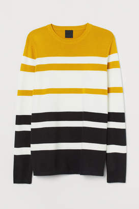 H&M Fine-knit Cotton-blend Sweater - Yellow