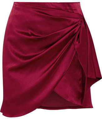 Caroline Constas Koren Wrap-effect Silk-blend Satin Mini Skirt - Merlot