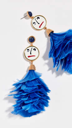 Tory Burch Conversational Feather Drop Earrings