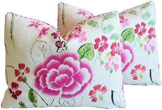 One Kings Lane Vintage Manuel Canovas Floral Linen Pillows - Pr