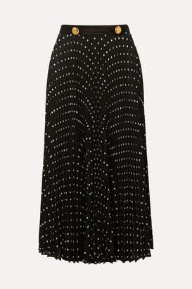 Prada Satin-trimmed Pleated Polka-dot Crepe Midi Skirt - Black