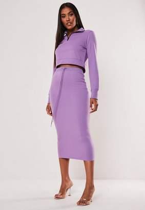Missguided Purple Drawstring Midi Skirt