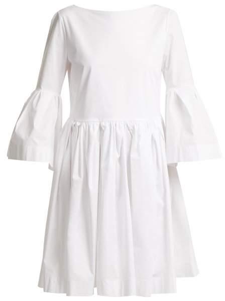 Ruffled cotton-blend dress