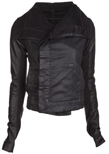 Rick Owens Denim Stretch Leather Biker Jacket