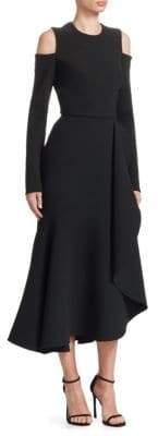 Elie Saab Double Crepe Ruffle Cold Shoulder Dress