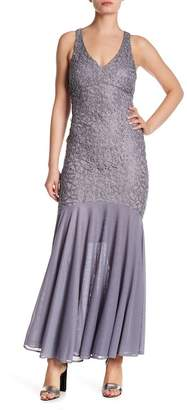 Marina Lace Solid Hem Gown