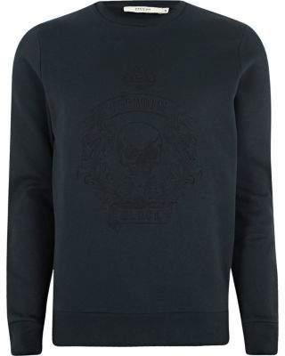 River Island Jack and Jones Premium navy skull sweatshirt