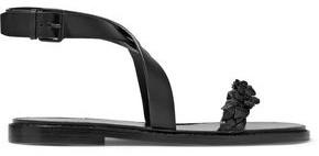 Valentino Floral-Appliquéd Leather Sandals