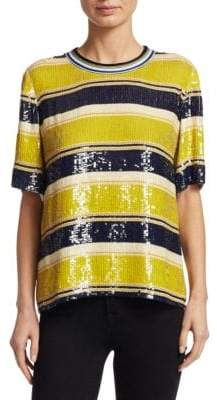 3.1 Phillip Lim Short Sleeve Striped Sequin Top