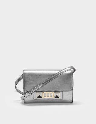 Proenza Schouler Ps11 Wallet with Strap in Silver Metallic Linosa Leather