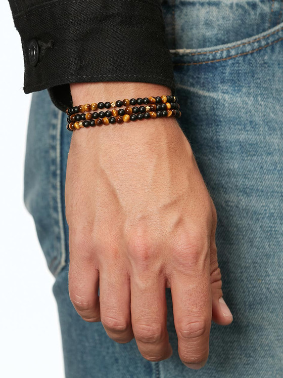 Nialaya Jewelry - The Mykonos Collection - Brown Tiger Eye, Matte Onyx And Gold
